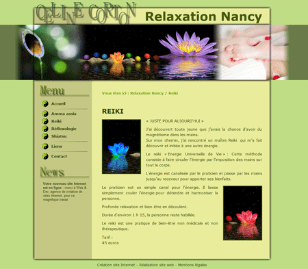 Exemple de création site Internet Reims : cabinet de relaxation à Nancy (shiatsu, massage assis, reiki, réflexologie)
