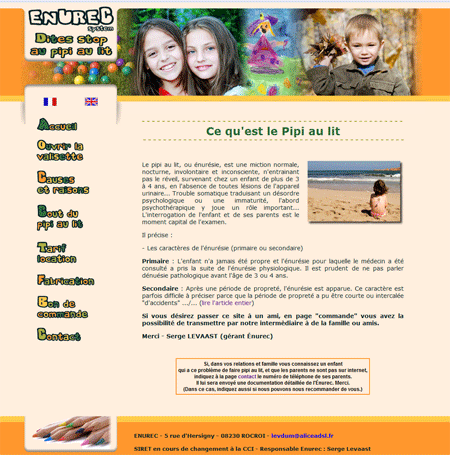 Exemple de creation site Internet Reims : Stop au pipi au lit des enfants
